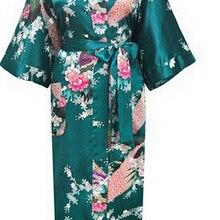 Brand New Long Robe Satin Rayon Bathrobe Nightgown For Women Kimono Sleepwear Flower Plus Size S