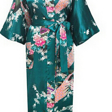Brand New Long Robe Satin Rayon Bathrobe Nightgown For Women Kimono Sleepwear Flower Plus Size S