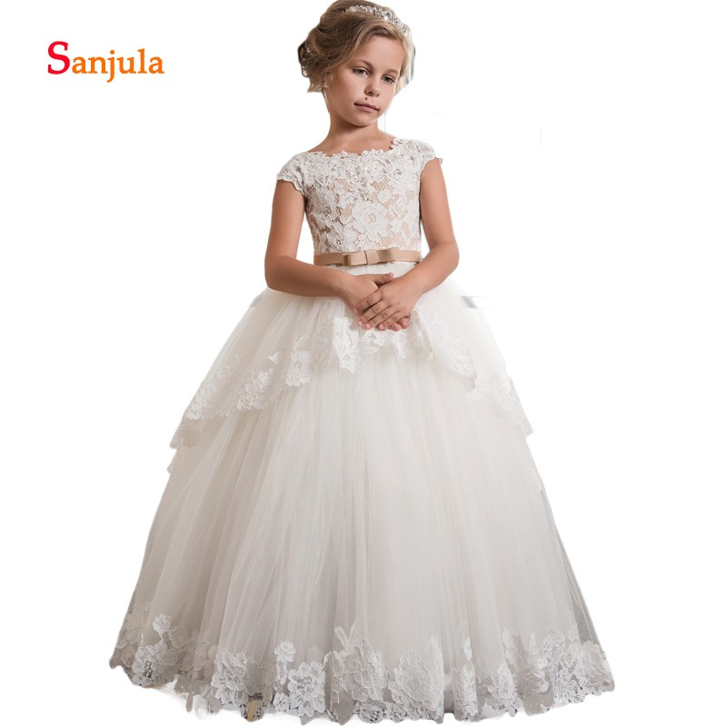 Ivory Little   Girls   Pageant Party   Dresses   Princess Ball Gonw Lace   Flower     Girls     Dresses   2019 Newly Cap Sleeve Prom   Dresses   D192