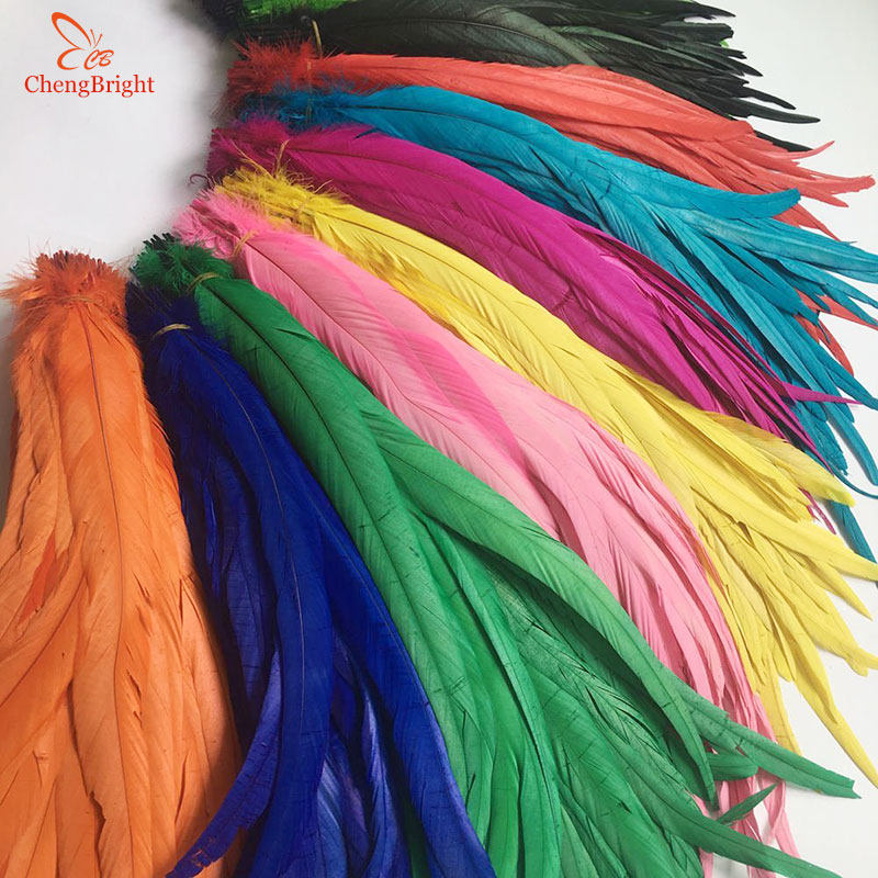 ChengBright Wholesale 100PCS 30-35CM Natural Rooster Tail Feathers For Decoration Craft Feather Christma Diy Pheasant Feather