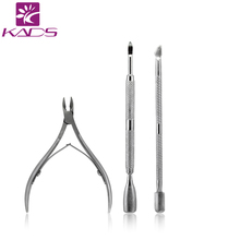 HOT Stainless Steel Nail Tool Kits Scissor Nipper Cuticle Tool Spoon Pusher Dead Skin Remover Cutter Clipper Trimmer 3pcs/set