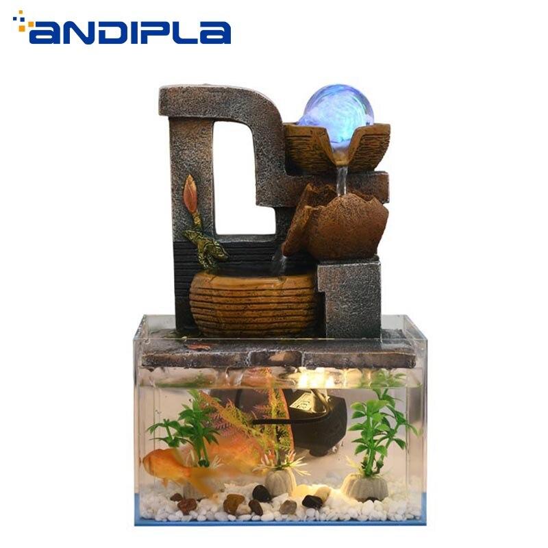 110 V-240 V créatif couler fontaine d'eau Aquarium bureau salon Aquarium décorations de bureau Feng Shui cadeaux d'anniversaire chanceux