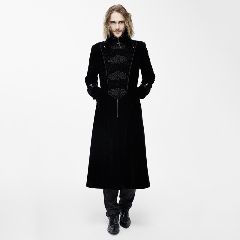 2017 Devil Fashion Gothic Gentleman Long Jackets Steampunk Black Red Autumn Winter High Collar Thick Coats Overcoats