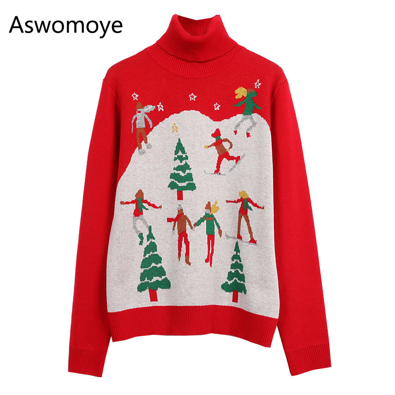 Spring of 2018 New Fashion Women Sweater Pullovers Christmas Pattern Full Sleeve Turtleneck Loose Female Jumper Knitwear