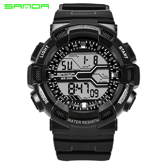 SANDA Brand Mens Sports Watches Outdoor Camping Army Watch For Men Alarm Chronograph Digital Clock Waterproof New Erkek Kol Saat