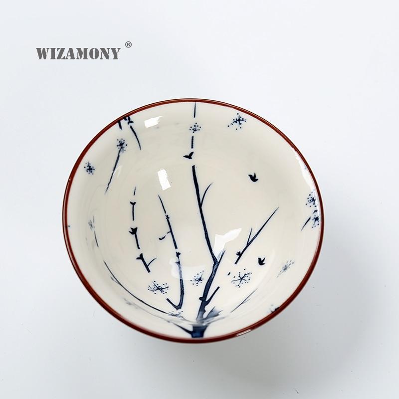 Купить с кэшбэком WIZAMONY Drinkware Chinese Kung Fu Tea Set Teacup cups Handpainted Blue and white Ceramic Porcelain for puer Oolong Tea