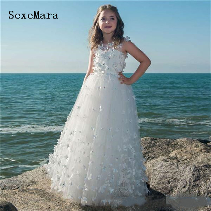 NEW WHITE TULLE WEDDING FLOWER GIRL DRESS BUTTERFLIES PAGEANT 12-18M 2 4 6 8 10