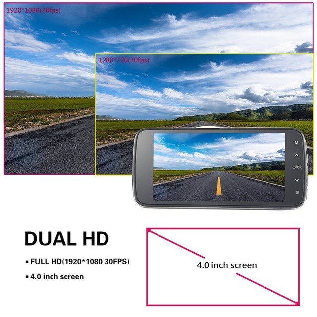 4.0 Inch IPS Screen Car DVR Novatek Car Camera T810 Oncam Dash Camera Full HD 1080P Video 170 Degree Dash Cam