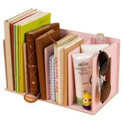 Madeira diy desktop revistas & livros prateleiras de armazenamento de armazenamento livro prateleira de exibição standholder mesh organizador de mesa estante estante