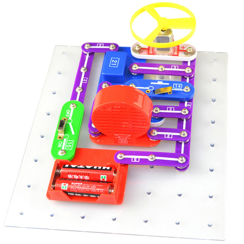 New Technic Kids Electronics Blocks Kit Switch Circuits Electronics Discovery Kit Science Educational Toys For Children W335