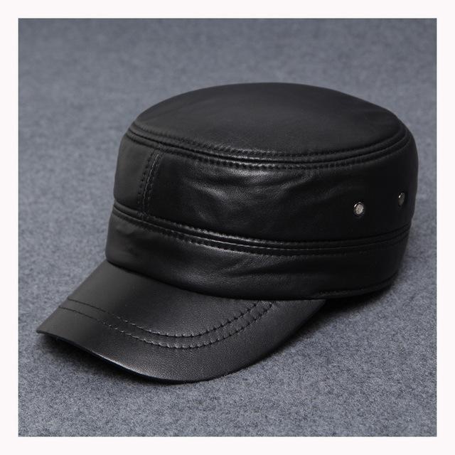 Preto genuíno couro de carneiro baseball caps marca chapéus para os homens baseball - tampa tampão do camionista snapback B-0569