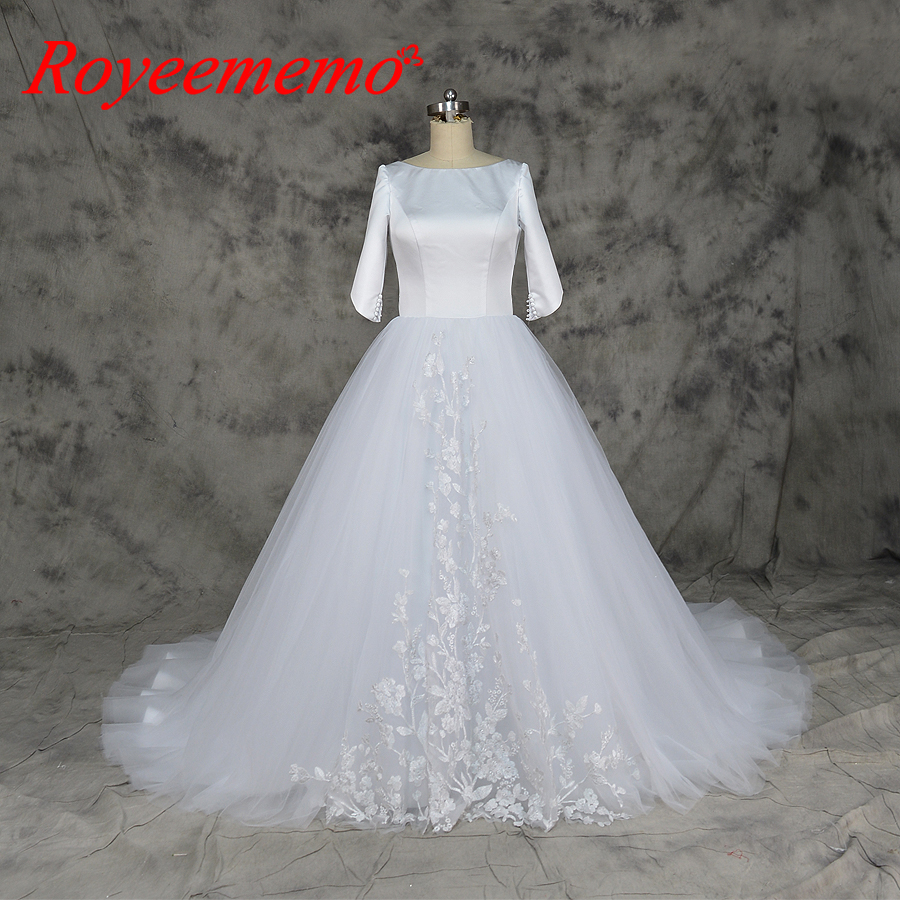 Wedding Gown Tops: 2018 Hot Sale High Quality Satin Top Wedding Dress Three
