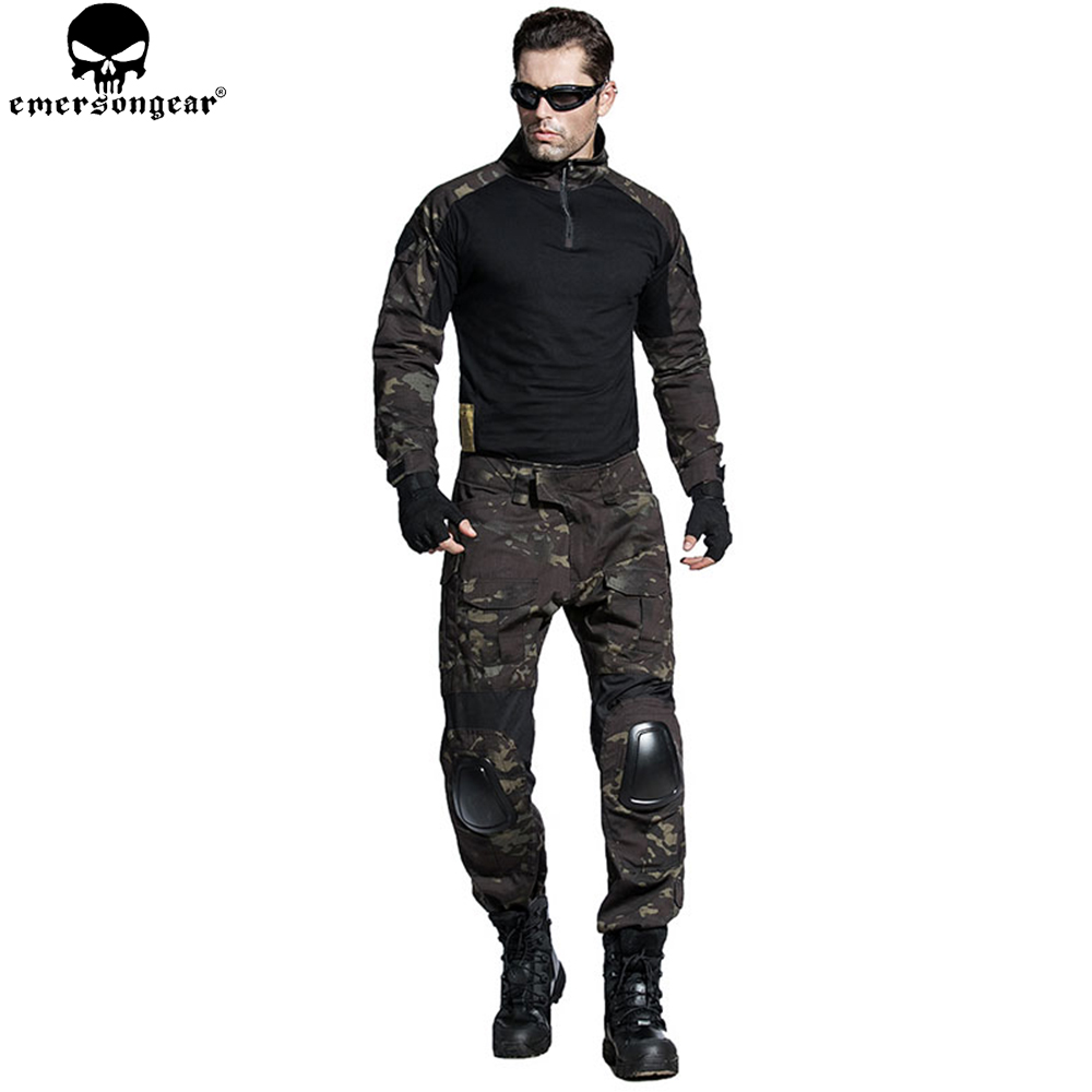 EMERSONGEAR Airsoft BDU Tactical Uniform Combat Shirt Pants with Elbow Knee Pads Military Hunting Clothes Multicam Black EM6971 цена