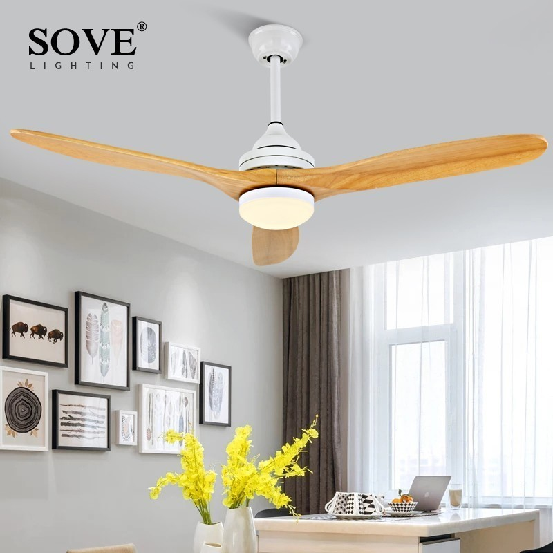 SOVE White Modern Ceiling Fan Wood Without Light Wooden Ceiling Fans With Lights Loft Remote Control