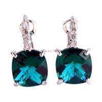 New Fashion Charming Green Topaz  Dangle Hook Silver  Earring Fashion Jewelry Women Earrings Wholesale Free Shipping