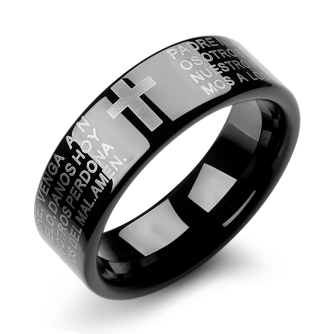 High Quality Scratch Resistance Men Black Tungsten Ring Jewelry Bible Cross Prayer Wholesale Price: Black Tungsten Wedding Band Cross At Websimilar.org