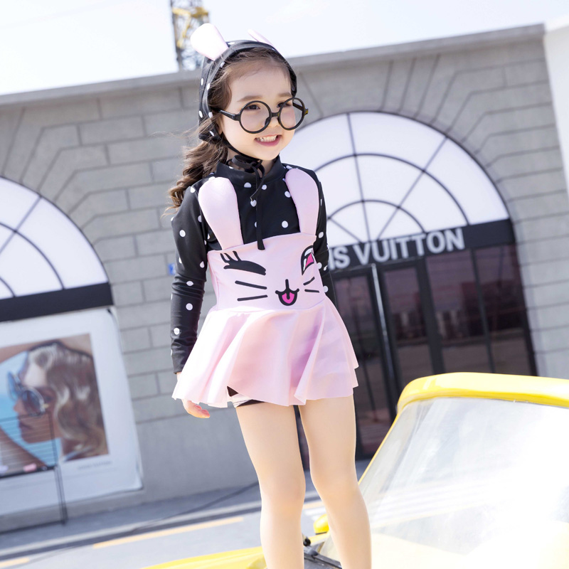 2017 New Bathing Suit for Young Girl Long Sleeves 3D Bunny Swimsuit Girl with Swimming Cap pink blue Swimwear kids children 8815 baile pink bunny эрекционное кольцо с вибрацией