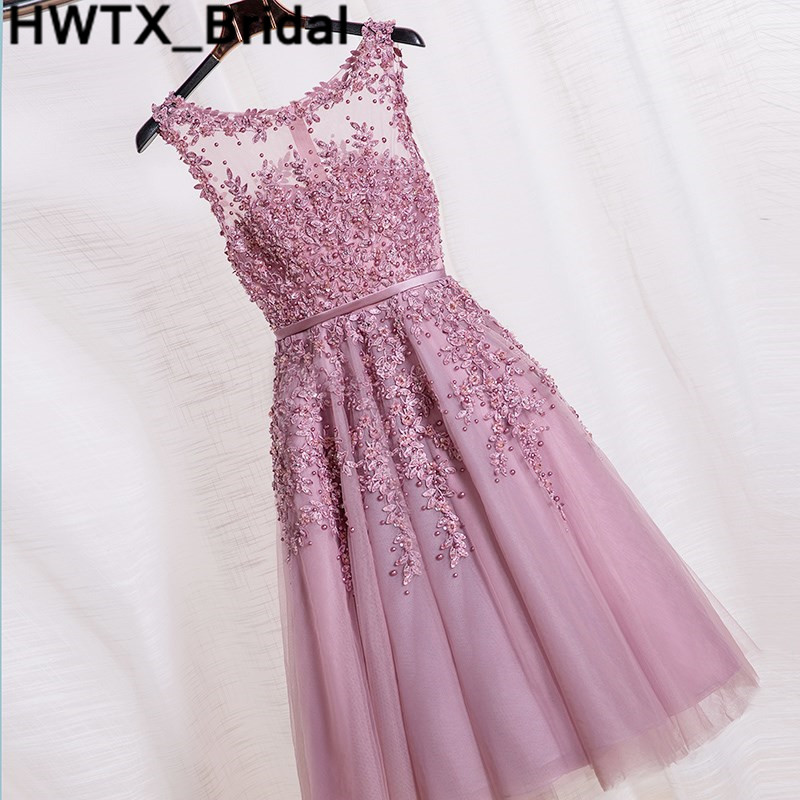 Short Dust Pink   Bridesmaid     Dresses   2018 Shining Beaded Lace Appliques Robe De Soiree Knee Length   Dress   Women Party Wedding