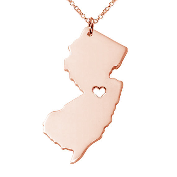 Daisies 3 color New Jersey state map necklace Stainless Steel map Pendant Necklaces bijouterie accessories