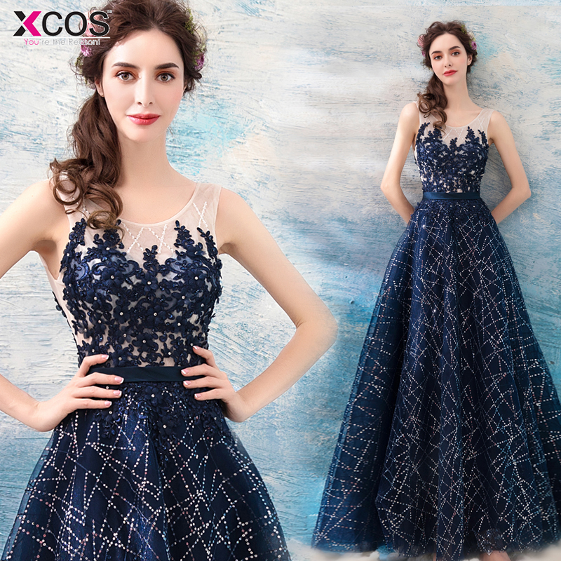 Sequins Beaded Prom Dresses 2019 Sexy Scoop Navy Blue Tulle Sleeveless A-line Formal Long Gala Dress Vestido De fiesta