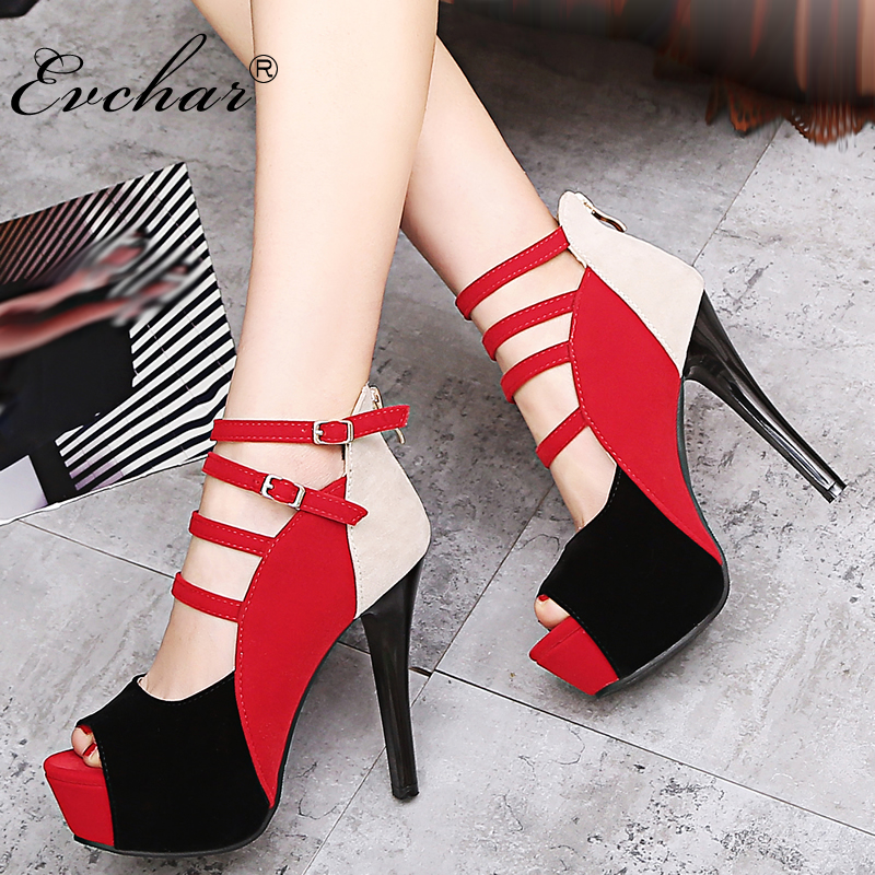 EVCHAR Sandals Woman New Summer peep Toe Women super High Heels Ankle-wrap Party  night club Platform Women Sandals Shoes 33-43 marlong women sandals summer new candy color women shoes peep toe stappy beach valentine rainbow jelly shoes woman