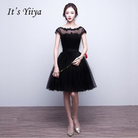 It's YiiYa Sexy Black Illusion Flowers Backless Lace Up Dinner Dress Cocktail Dresses Knee Length Formal Dress Party Gown LX049