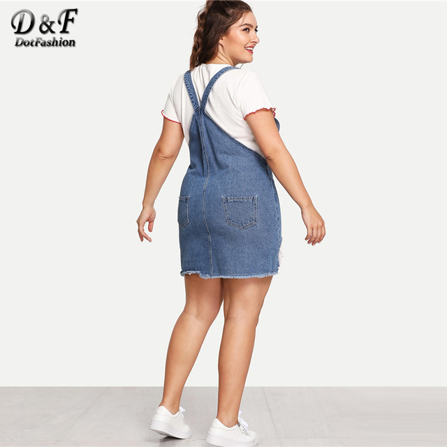Dotfashion Plus Size Blue Frayed Edge Distressed Denim Overall Dress Women 2019 Casual Summer Clothes Straps Sleeveless Dress 5