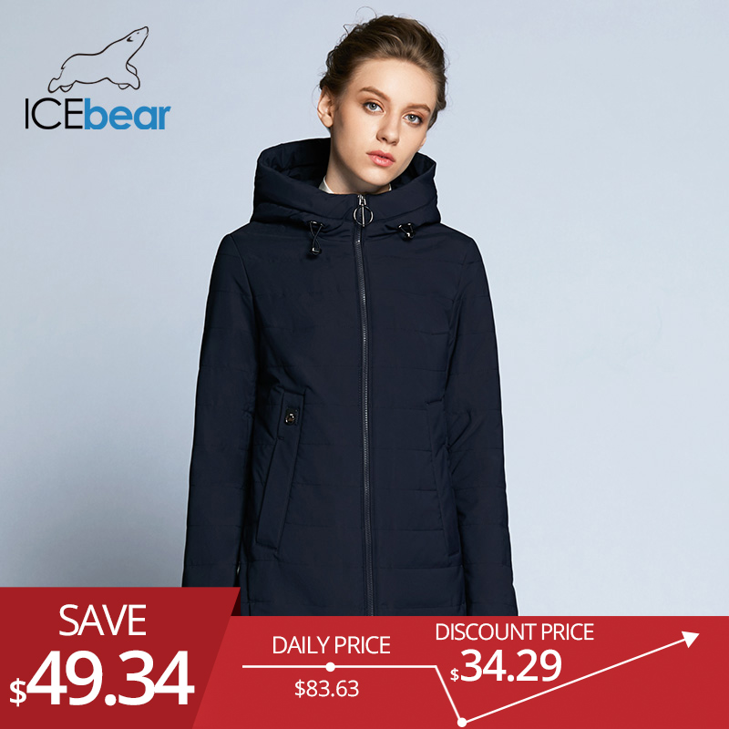 ICEbear 2019 Новинка женская веснняя куртка-пуховик с большим карманом качественная осенняя тёплая парка GWC18129D
