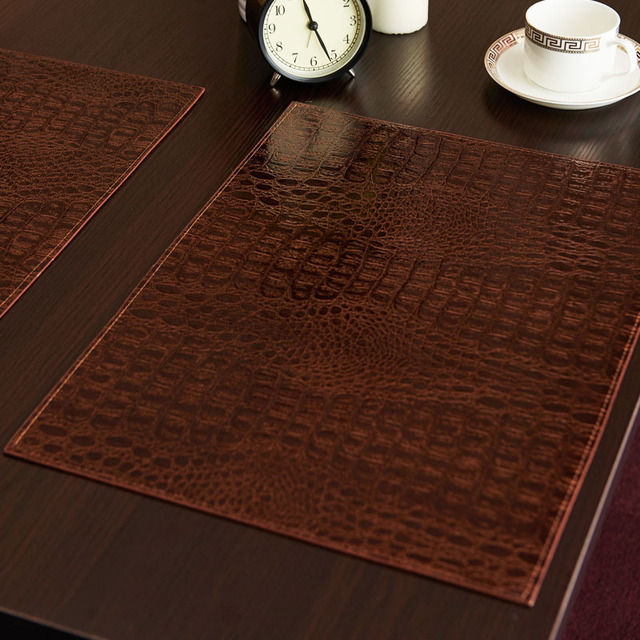 Beau Leather Placemat European Style Crocodile Pattern Table Mat Insulation Pad  Mat Decorative Coffee Coasters