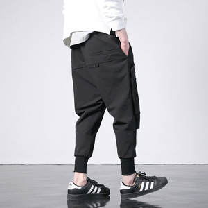 Image 2 - 新西洋ディアブロスタイルのファッション個性サイドリボンメンズジョガーヒップホップ秋カジュアルストリート男性ハーレムパンツ