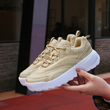 Women Reflective chunky sneakers gold shoes Thick Bottom Platform lady Panda Triple S light running masculino famale 36-41