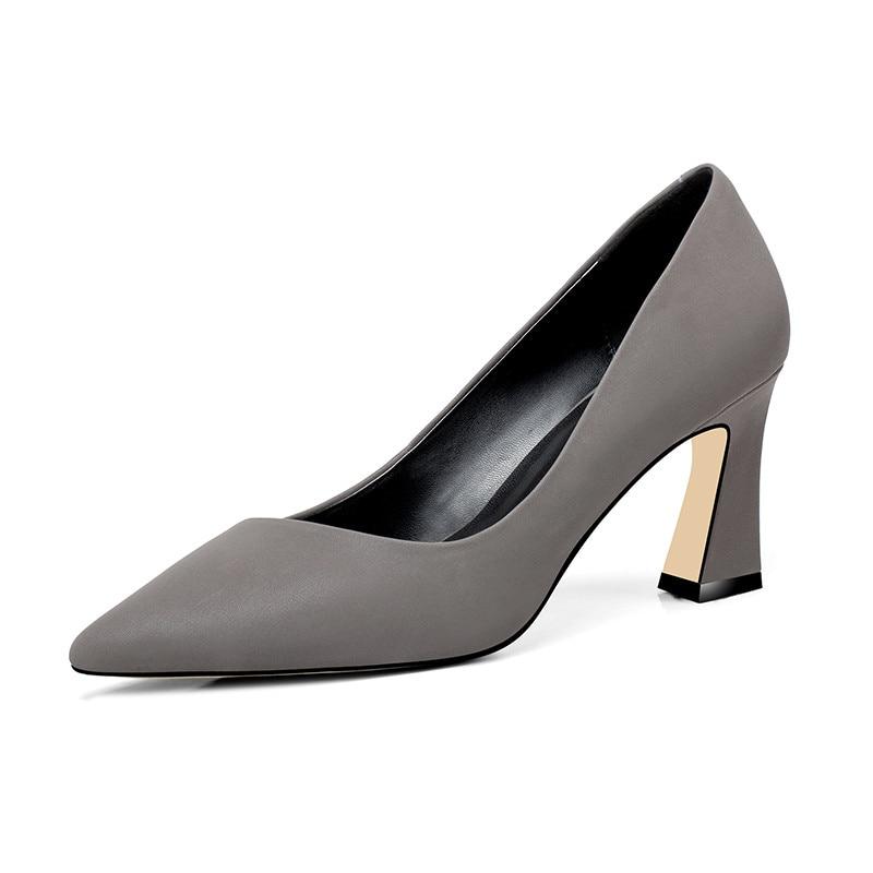 Mujer Moda Zapatos gris Tacón Llegada Elegante Puntiagudo Vestido Mujeres Dedo Verano Del Superficial Morazora Oscuro 2018 De Negro Pie Nueva Alto Las qvvUax