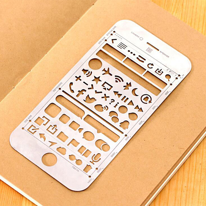 6pcs/lot Phone Shaped Metal Stencil Ruler For DIY Painting , Stainless Steel Spirograph Ruler For Kids Drawing , Daily Marking