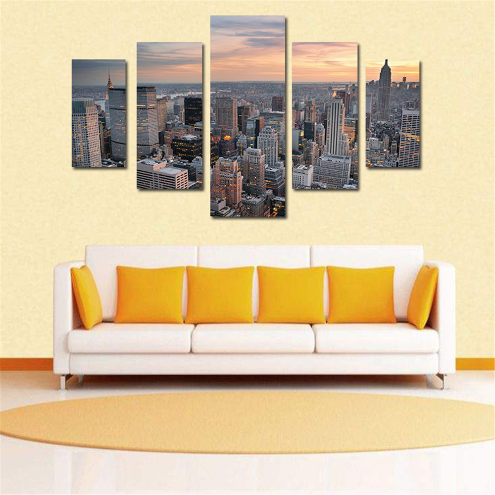 Tableau Puff Large Modern Room Decor Oil Painting 5pcs Unframed ...