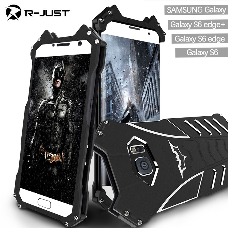 R-JUST For samsung galaxy S6 edge plus case Armor Heavy Dust Metal Aluminum CNC BATMAN protect Skeleton head phone cases+bracket