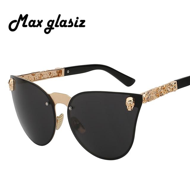 12ba7d5f17 Nouveau 2018 Unique crâne Cateyes mode luxe lunettes de soleil hommes  surdimensionné sans monture Vintage lunettes