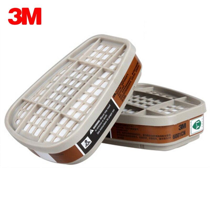 3M 2PCS 6001CN Organic Vapor Cartridge Activated Carbon Filter Box Special For Respirator Masks Gas Mask Respiratory Protection