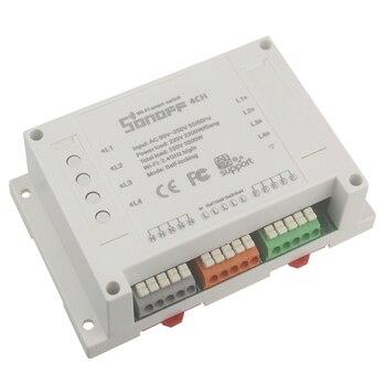 Sonoff 4CH 4 canales interruptor wifi inteligente montaje en carril din interruptor inalámbrico, control doméstico inteligente 4 electrodomésticos a través de smartphone