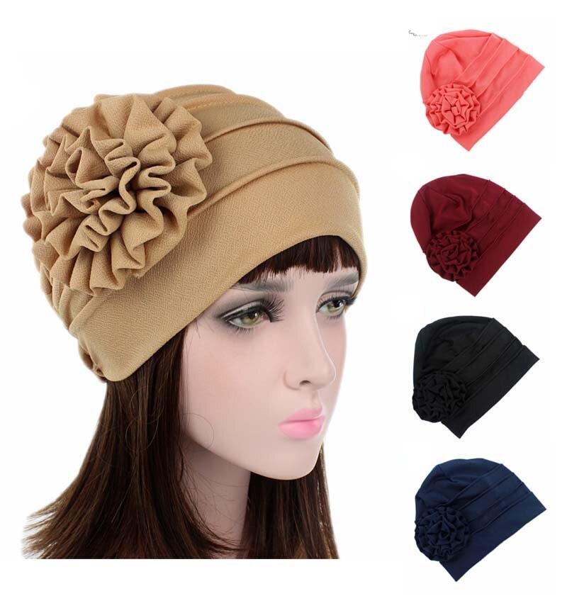 2017 new king Flower ruffle Turban Beanie Head Wrap Chemo Cap Bandana hair loss Hat  Beany Slouch Cap