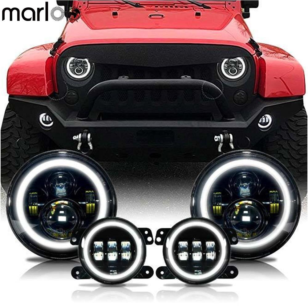 Marloo 7 Inch LED Halo Headlights + 4 Inch LED Fog Light DRL Combo Kit For Jeep Wrangler JK 2007-2017
