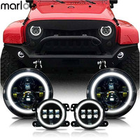 Marloo 7 Inch LED Halo Headlights 4 Inch LED Fog Light DRL Combo Kit For Jeep