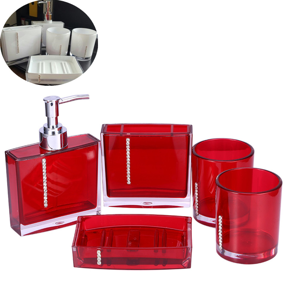 5pcs Set Acrylic Bathroom Accessories Hand Soap Dish Dispenser Tumbler Toothbrush Holder Home Decorate In Sets From