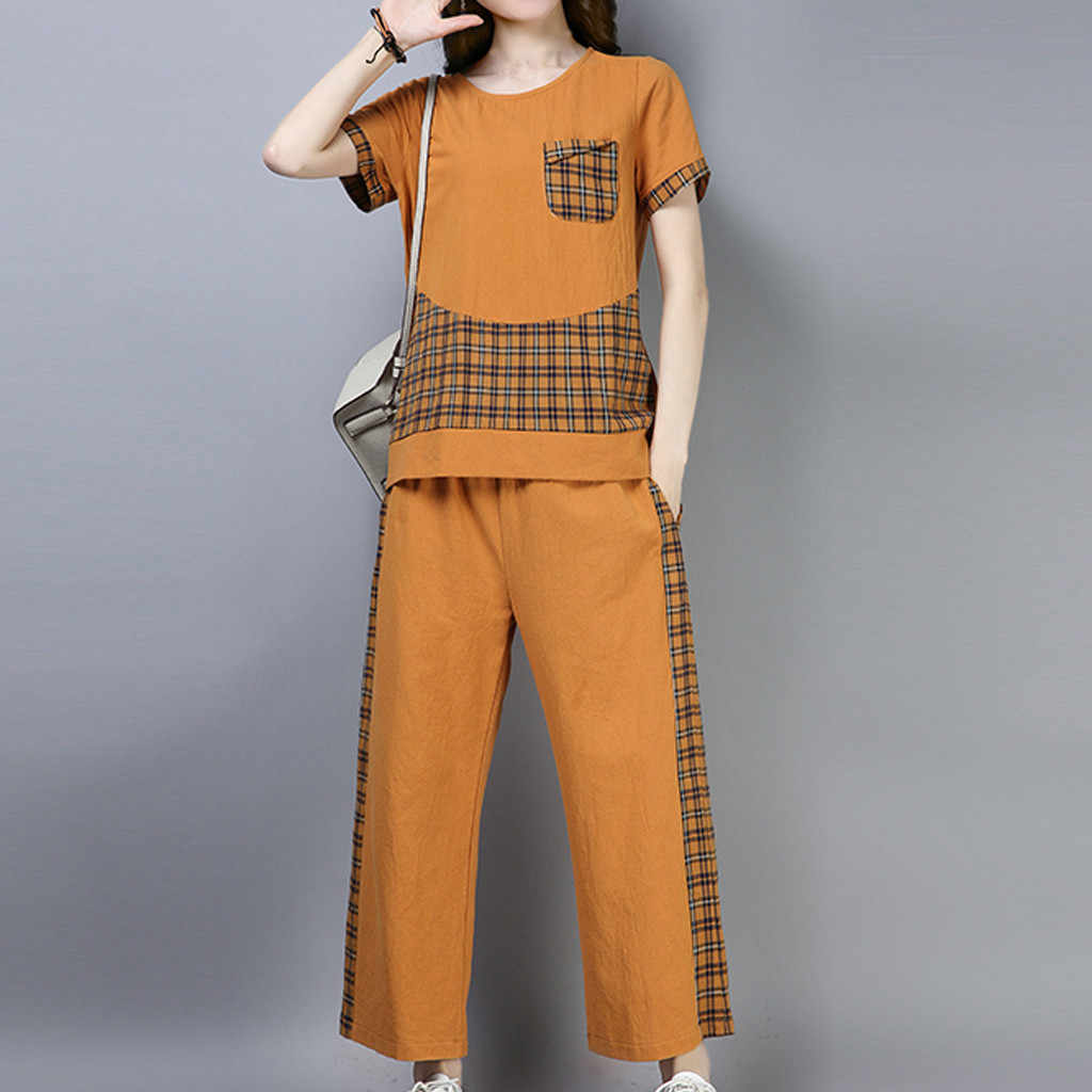 JAYCOSIN 2019 New Summer Women Suit Harajuku Home Cotton Linen Casual Plaid Patchwork Top Ankle-Length Pants Sets 9May1224