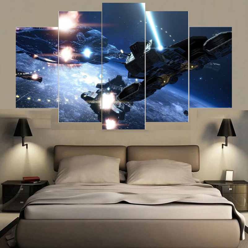 Factory Direct Sale Big Spaceship War Canvas Deco Painting Home Art Pictures Prints Poster HD Paintings For Bed Room Kids Room