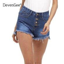DevenGee 2017 Новая Мода женские Джинсы Летом Высокая Талия Сплит Свободные Джинсовые Шорты Корейский Случайные Женщины Рваные Джинсы Шорты синий