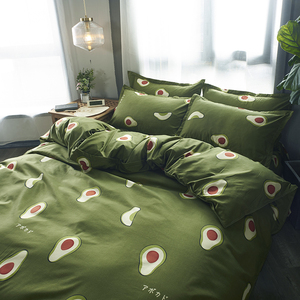 Image 4 - Cartoon fruit Bedding Set Soft Quilt Cover Pillowcase Warm Soft bed sets twin full queen king duvet cover sets green bedclothes