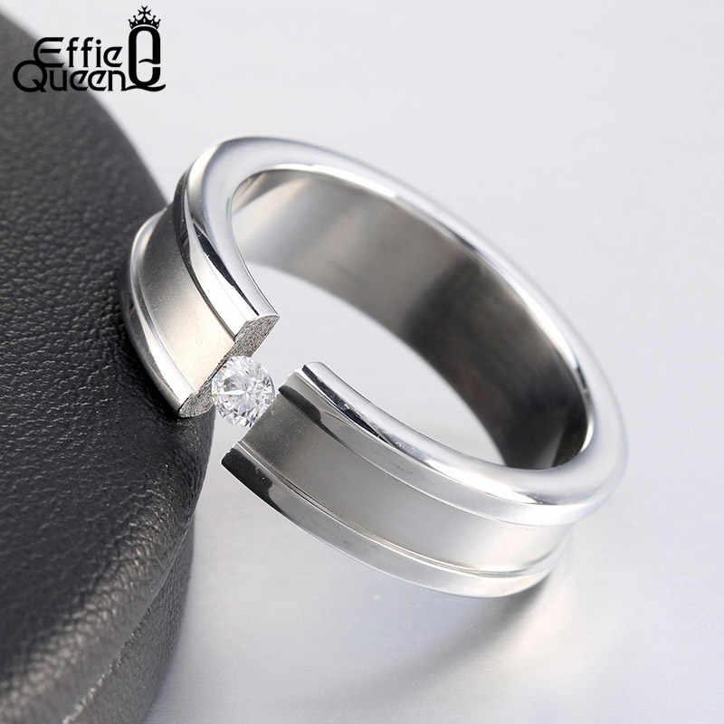Effie queen 316L мужские кольца из нержавеющей стали с фианитом AAA черный/серебристый/золотой цвет обручальное кольцо Модные ювелирные изделия DGTR22