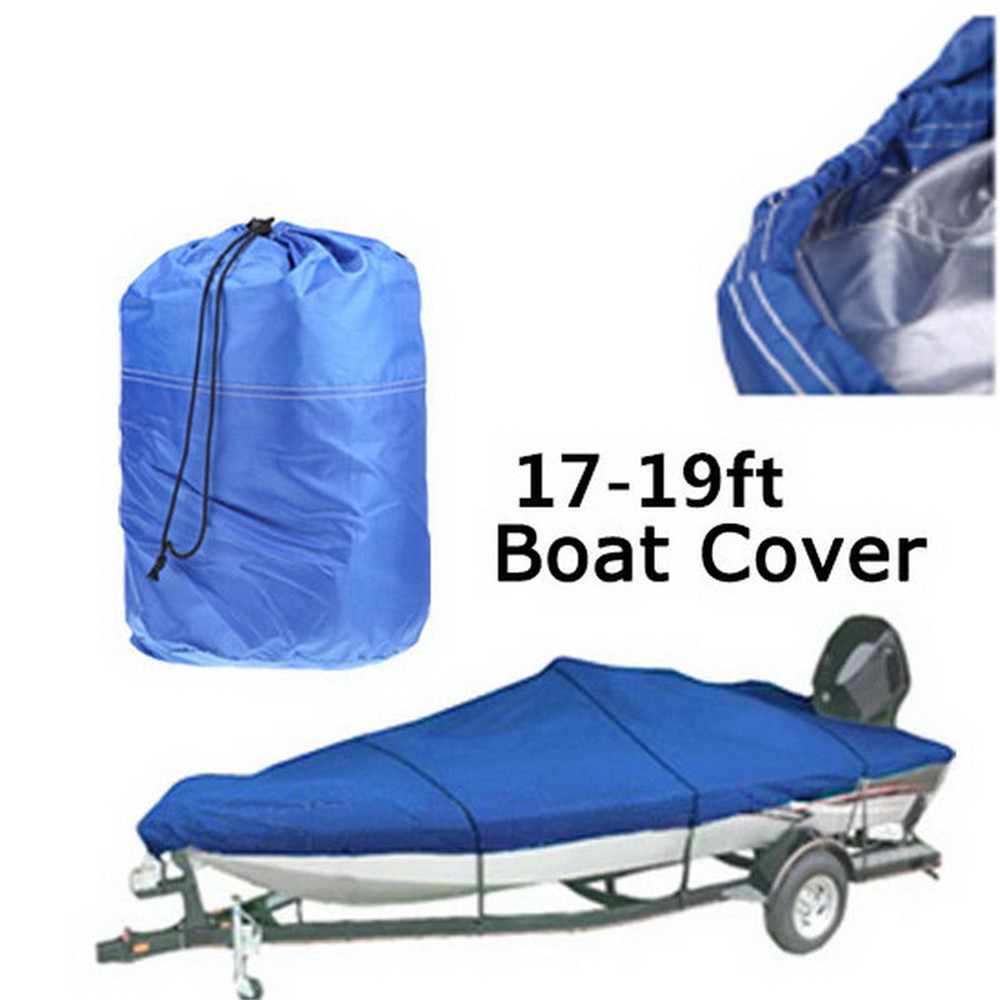 Heavy Duty Oxford 210D Grey Blue 17-19ft Trailerable Boat Cover  Waterproof UV Protected Marine Grade Boat Cover V-shape