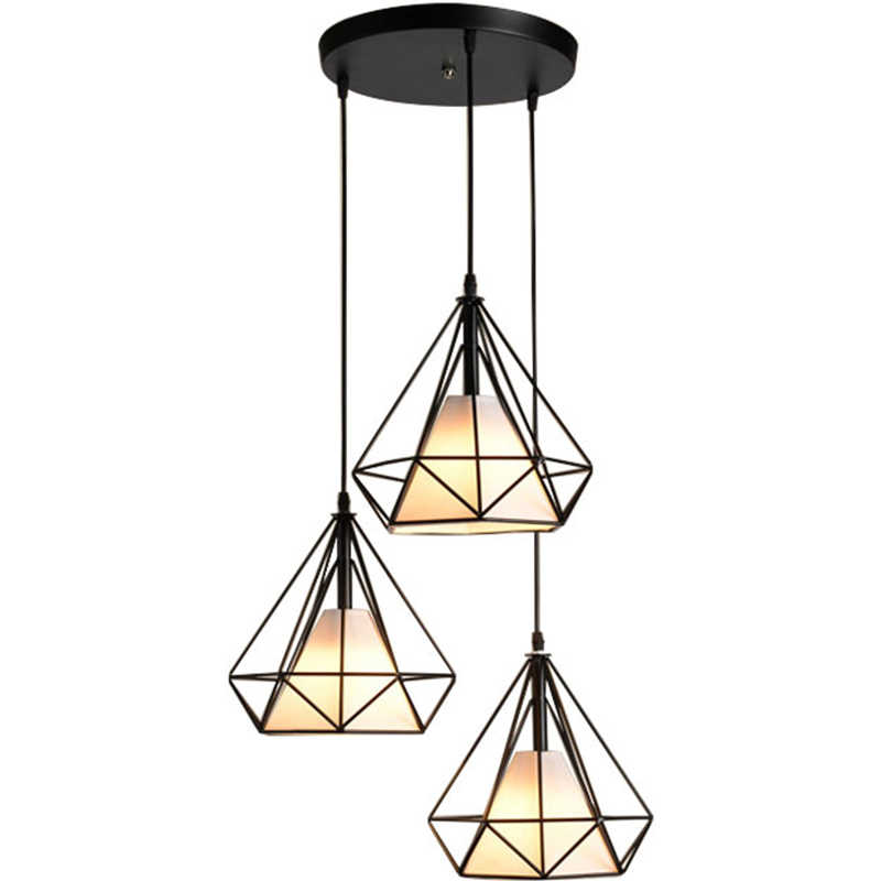 Современная клетка металлической клетке минималистский Пирамида подвеска Бриллиантовая свет висячая Потолочная люстра AC110V/220 V E27