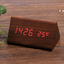 Desk Wooden Led Digital Alarm Clock with Temperature Sound Control Battery or USB Operated Table clock for Bedroom office decor